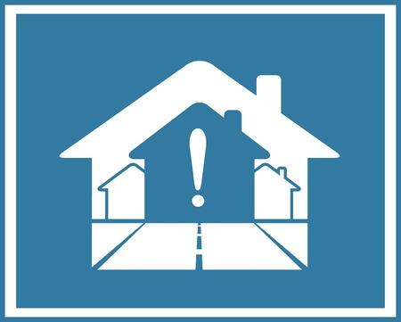 símbolo azul de bienes inmuebles con casas y signo de exclamación Ilustración de vector