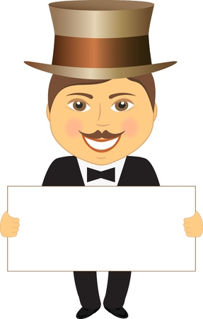 cheerful gentleman in hat with space for text Stock Vector - 12800630