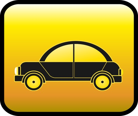 glossy icon with black retro car Vector