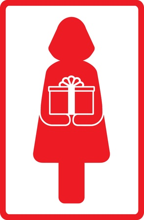 red icon with woman and gift box Stock Vector - 12800594