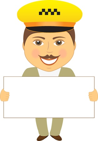 isolated taxi driver with poster in hands Stock Vector - 12800628