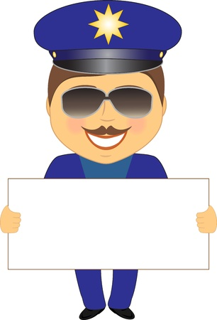 cartoon police officer: smile isolated policeman showing space for text Illustration