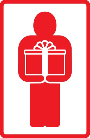 red sign with standing man and gift Stock Vector - 12800620