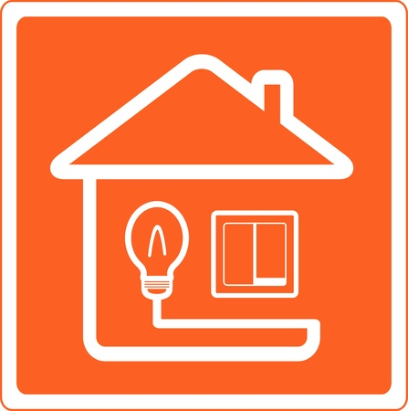 light switch: red symbol of electricity in the house with bulb and light switch