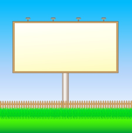 bill board: billboard with rustic fence and summer grass Illustration