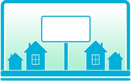 bill board: blue background with billboard and cottage silhouette