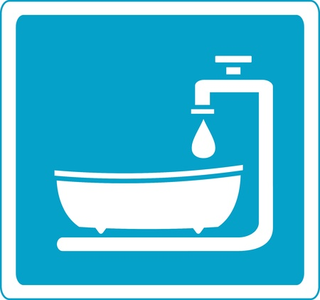 blue sign with bathroom and tap silhouette Vector