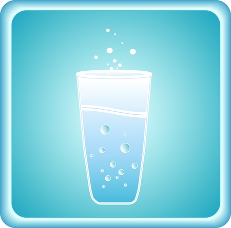 pure blue icon with glass silhouette and water Vector