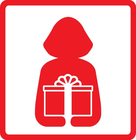 icon with woman silhouette hold red gift box Vector