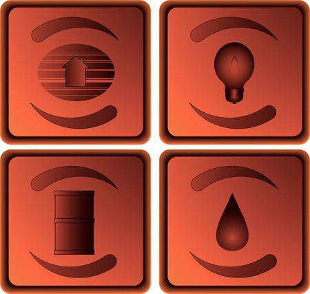 set of energy power objects different resources Vector