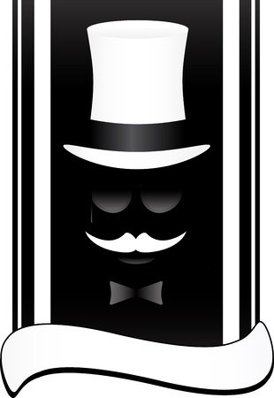 tux: black theater symbol of face with mustache and hat