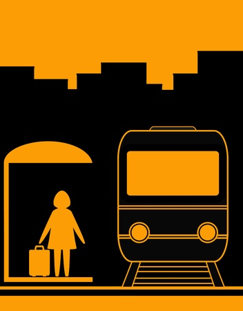 suburban: urban background with woman and suburban electric train silhouette Illustration