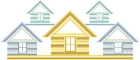 gold house: symbol construction with silver and gold house silhouette Illustration