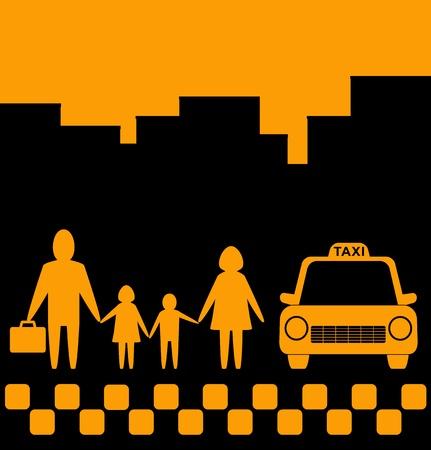 ciudad de fondo amarillo con la familia y la silueta de coches de taxi