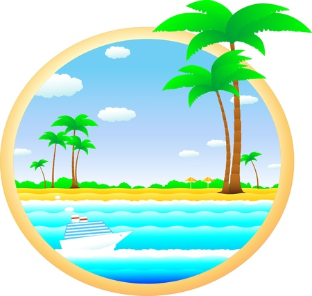 colorful tropical landscape with beach, palm and cruise ship Stock Vector - 12948704