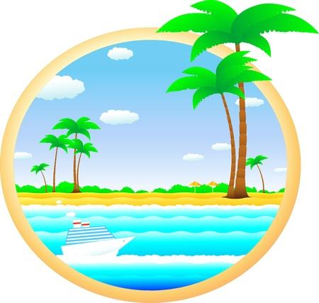 kleurrijke tropische landschap met strand, palm-en cruiseschip