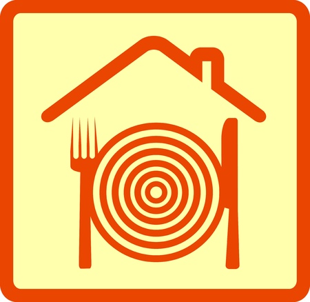 abstract restaurant sign with utensil and house silhouette Vector