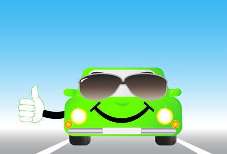 cartoon cheerful car on road and showing thumb up Vector