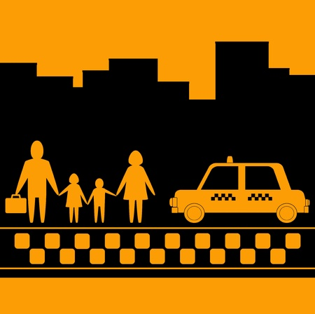 taxi for family on urban background Stock Vector - 12948694