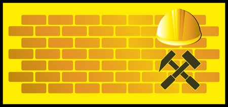 safety hat: construction background with bricks, hammer and helmet