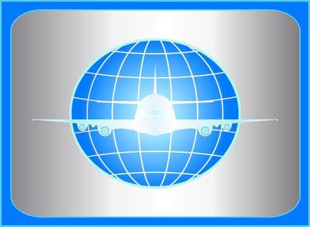 logo voyage: icône avec le plan de vol sur le métal bakground Illustration