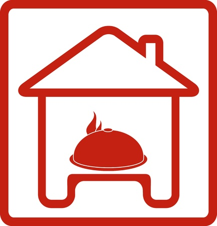 icon with house and hot dish on table silhouette Vector
