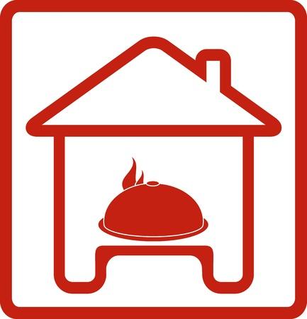 logo de comida: icono con la casa y el plato caliente en la silueta de la tabla