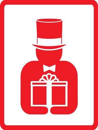 red icon with man in hat hold gift Stock Vector - 12948709