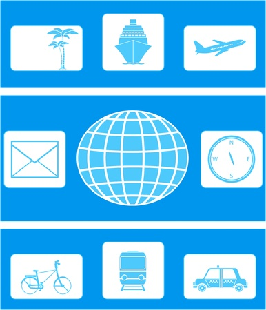 set of isolated travel icon and transport object Vector