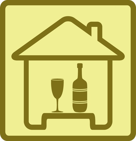 pub food: sign with isolated bottle, wineglass and house silhouette Illustration