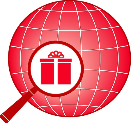 red sign with planet, magnifier and gift Vector