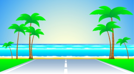 sun road: background with road and a tropical landscape