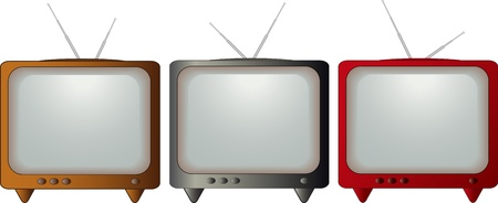 screen tv: set isolated colorful retro TV Illustration