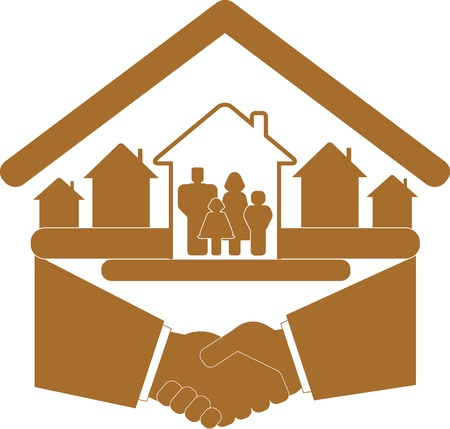 brown sign with handshake and family in house silhouette Vector