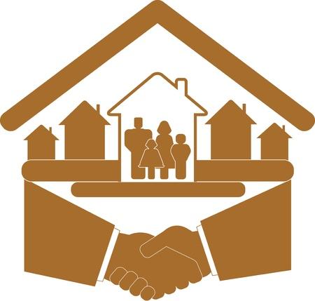 panneau marron avec poignée de main et de la famille dans la silhouette maison