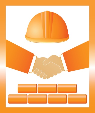 signo de la construcci�n con el casco de color rojo, apret�n de manos y ladrillos Vectores