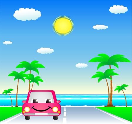 sun road: smile cartoon car on tropical resort road