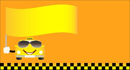 cute visiting card cheerful taxi with flag and space for text Stock Vector - 12948759