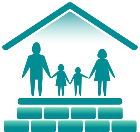 blue sign with family in bricks house silhouette Vector