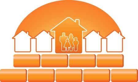 logo batiment: silhouette de la famille et de signe de la construction avec des briques et du soleil