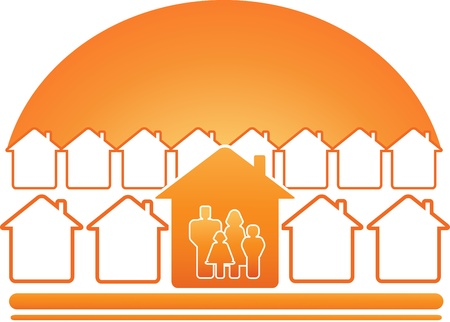 red sign with family, house and sun silhouette Vector