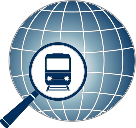 tourism logo: blue sign with train in magnifier on planet silhouette