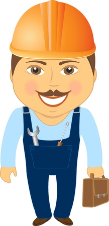 smile builder with bag for tools Vector
