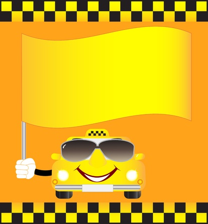 cartoon cab with banner Stock Vector - 12948765