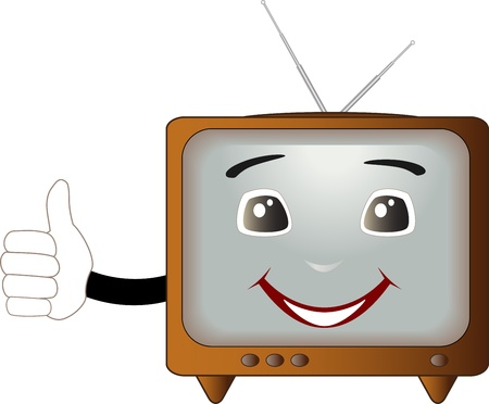 tv station: cute cartoon retro TV showing thumb up and smile