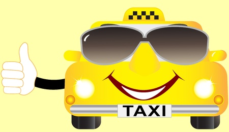 funny cartoon cab in sunglasses and showing thumb up Vector
