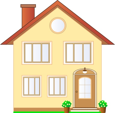 beautiful isolated house cottage with flowers Vector