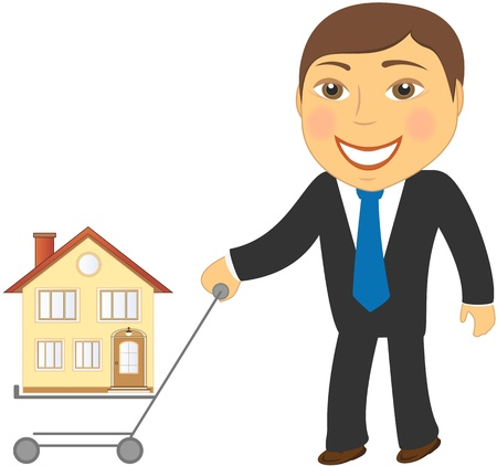 happy shopper: happy cartoon man with shopping cart and house