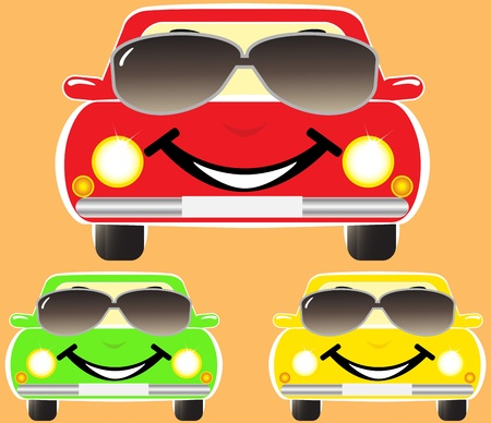set colorful cute smile cars in sunglasses Vector