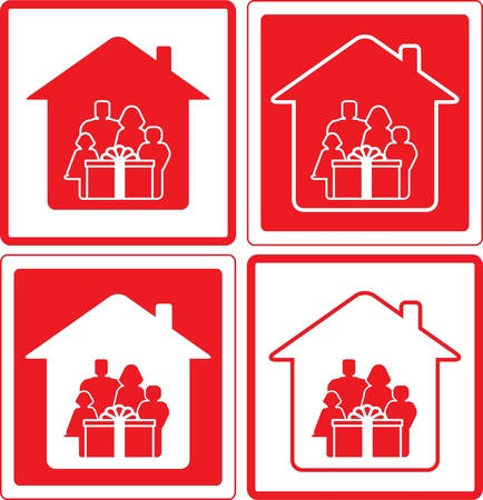 set red icon with family and gift box Vector